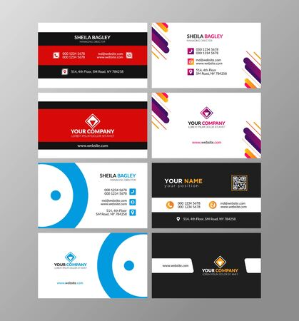 Illustration for Minimalist business card or visiting card design in front and back - Royalty Free Image