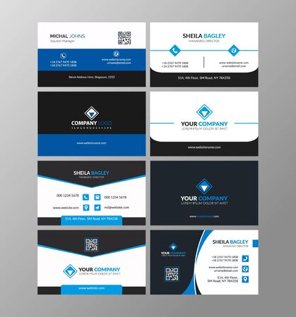 Illustration for Blue modern creative business card and name card,horizontal simple clean template vector design, layout in rectangle size - Royalty Free Image