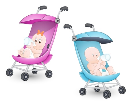 Photo pour Cute Babies in Stroller - image libre de droit
