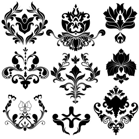 Illustration pour Vintage Damask Vector Elements - image libre de droit