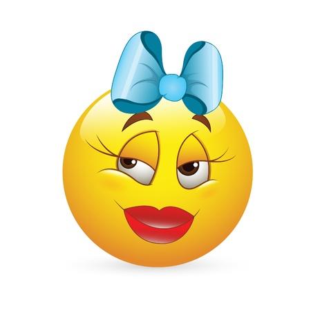 Smiley Emoticons Face Vector - Romantic Girl  Expression