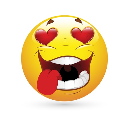 Smiley Emoticons Face Vector - Falling in Love