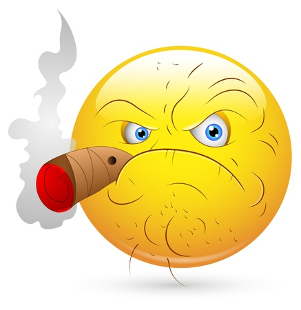 Smiley Vector Illustration - Smoking Man Face