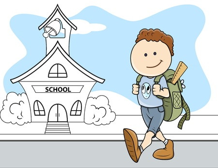 Boy Going to School - Kids - Vector Illustration