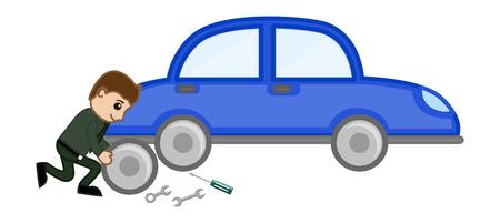 Cartoon Vector - Car Repairing