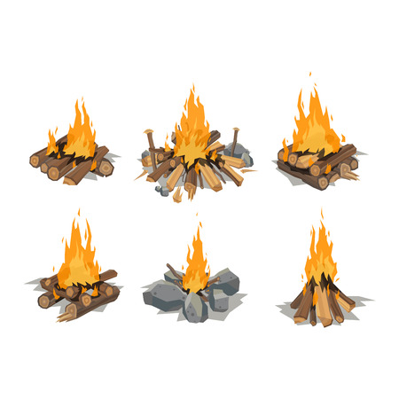 Isolated illustration of campfire logs burning bonfire. Bonfire on white background. Vector bonfire isolated and wood explosion glowing bonfire isolated. Nature burning blazing power vector.