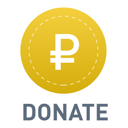 Vector donate concept hand and money button in flat style