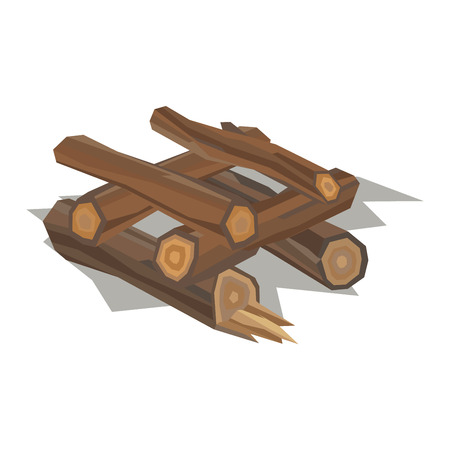 Firewood fireplace for bonfire stack vector wooden material. Firewood stacked wooden blocks. Firewood bonfire stack energy industry. Firewood fireplace stack vector illustration isolated