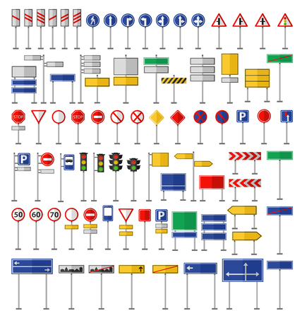 Ilustración de Road signs and symbols. Flat road signs set. Traffic signs graphic elements isolated on white. Great for infographic, city construction mobile apps. Flat design road signs concepts creative vector. - Imagen libre de derechos
