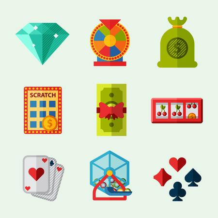 Casino game icons poker gambler symbols blackjack winning roulette joker slotbvector illustration.
