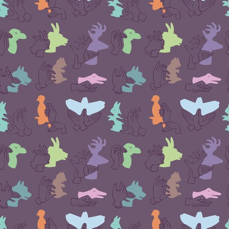 Illustration pour Hands gesture like different animals from shadow seamless pattern vector illustration background - image libre de droit