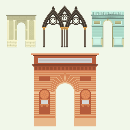 Arch vector architecture construction frame column entrance design classical illustration