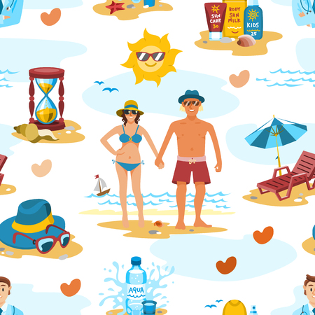 Family couple on the beach vector characters people romance lovers