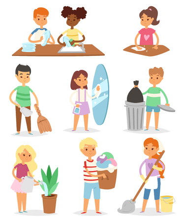 Kids cleaning rooms and helping their mums in household work vector illustration set