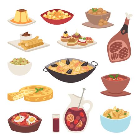 Ilustración de Spain cuisine cookery traditional food dish recipe spanish snack tapas crusty bread gastronomy vector illustration. - Imagen libre de derechos