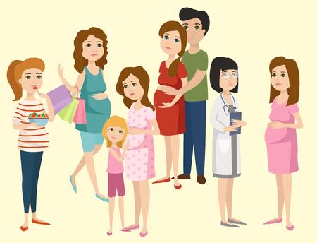 Illustration pour Pregnancy motherhood people expectation concept happy pregnant woman character life with big belly vector illustration - image libre de droit