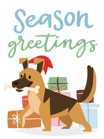 Christmas 2018 Dog Card Vector Cute Cartoon Puppy Characters Illustration Home Pets Doggy Xmas Print Design Web Banner Celebrate In Santa Red Hat Royalty Free Vector Graphics