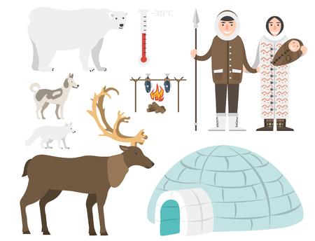 Alaska vector state symbols flat style america travel animal   outdoor wildlife north arctic concept illustration