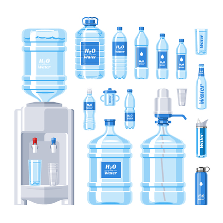 Illustration pour Water bottle vector water drink liquid aqua bottled in plastic container illustration set of bottling water cooler isolated on white background - image libre de droit