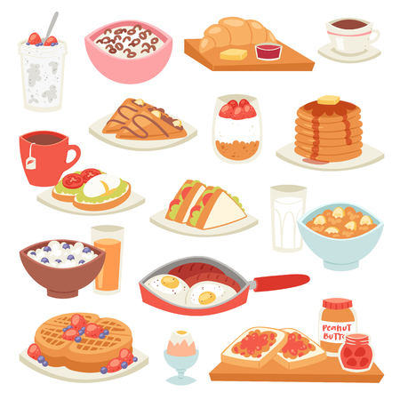 Illustration pour Breakfast vector coffee and fried eggs with sweet dessert in the morning illustration set of healthy food porridge or cereal and croissant on coffeebreak isolated on white background - image libre de droit