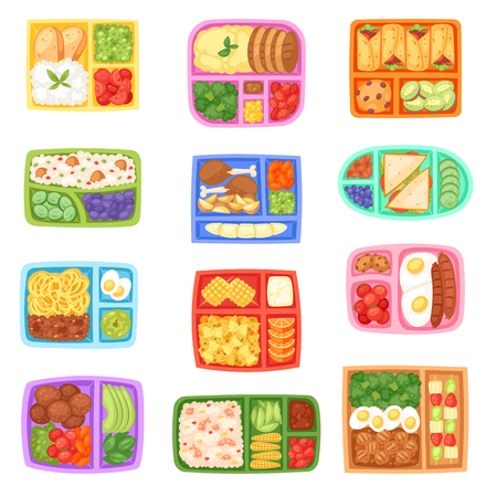 Vektor für Lunch box vector school lunchbox with healthy food vegetables or fruits boxed in kids container illustration set of packed meal sausages or bread isolated on white background - Lizenzfreies Bild