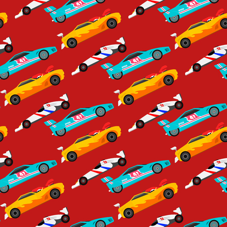 Sport speed automobile offroad rally car colorful fast motor racing auto driver transport motorsport seamless pattern background vector illustration.