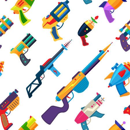 Illustration pour Cartoon gun vector toy blaster for kids game with handgun and raygun of aliens in space illustration set of child pistols and laser weapon seamless pattern background - image libre de droit