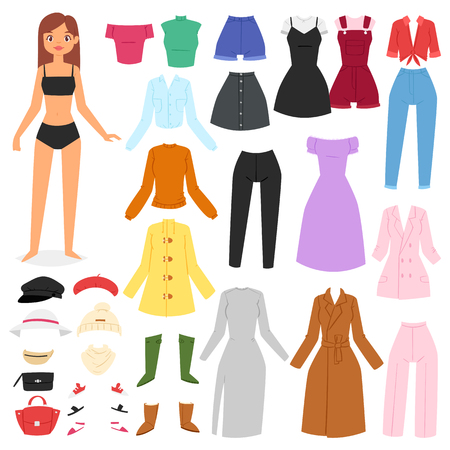 Illustration pour Clothes woman vector beautiful girl and dress up or clothing with fashion pants dresses or shoes illustration girlie set of female cloth hat or coat isolated on white background. - image libre de droit