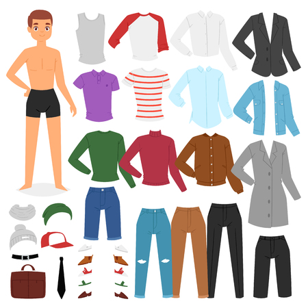 Illustration pour Man clothing vector boy character dress up clothes with fashion pants or shoes illustration boyish set of male cloth for cutting cap or T-short isolated on white background. - image libre de droit