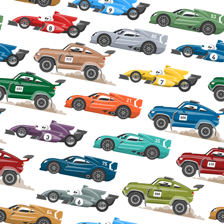 Illustration pour Sport speed automobile and offroad rally car colorful fast motor racing auto driver transport motorsport vector illustration seamless pattern background. - image libre de droit