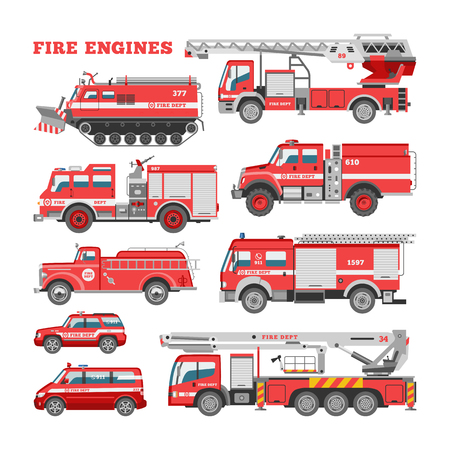 Illustration pour Fire engine vector firefighting emergency vehicle or red firetruck with firehose and ladder illustration set of firefighters car or fire-engine transport isolated on white background. - image libre de droit
