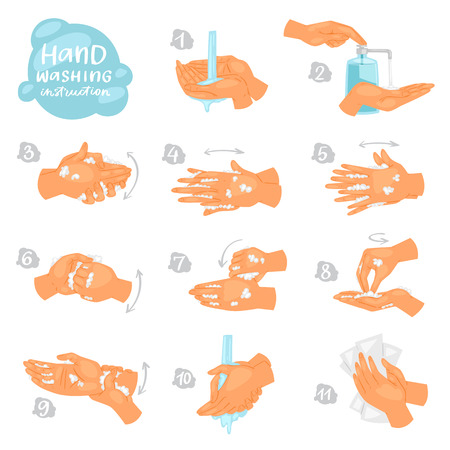 Illustration pour Wash hands vector instructions of washing or cleaning hands with soap and foam in water illustration antibacterial set of healthy skincare with bubbles isolated on white background. - image libre de droit