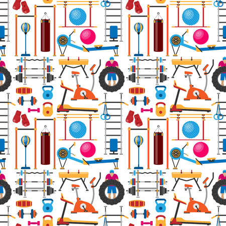 Fitness gym club vector seamless pattern background. Athlet and sport activity body tools. Wellness dumbbell silhouette track gymnastics active health lifestyle equipment.