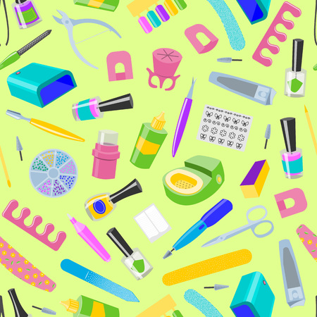 Manicure seamless pattern vector pedicure and manicuring accessory or tools nail-file or scissors of manicurist in nail-bar illustration fingernails polish for manicured hands background.