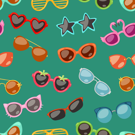 Glasses vector cartoon eyeglasses or sunglasses in stylish shapes for party and fashion optical spectacles set of eyesight view accessories illustration background.