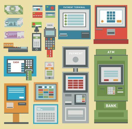 Photo pour ATM money pos-terminal hand credit card icons. - image libre de droit