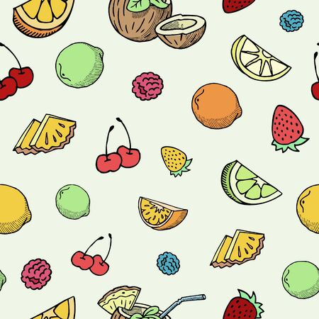 Illustration pour Hand drawn fruits and berries vector seamless pattern. Ink pen cherry, lemon slices, strawberry and blueberry fruits sketch. Vintage background in bright summer colors. - image libre de droit
