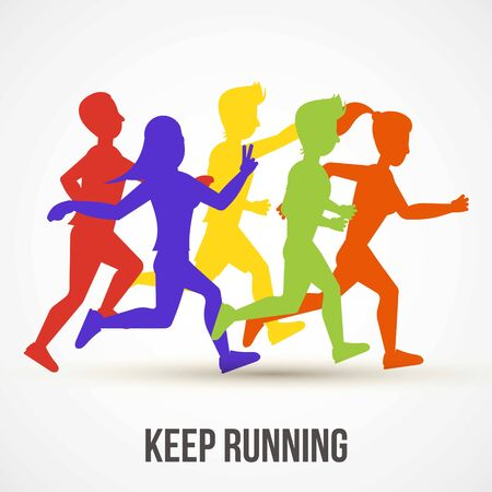 Vektor für Keep running vector illustration. World health day poster design. Save health concept. People jogging, run training. Colorful runners silhouettes for banner, advertisement cover. - Lizenzfreies Bild