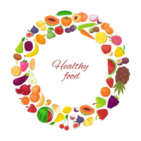 Illustration pour Healthy food with organic fruits and vegetables in circle isolated on white background vector illustration poster. Vegeterian fruits and veggie diet healthy food carrot, banana, oranges and lemon. - image libre de droit