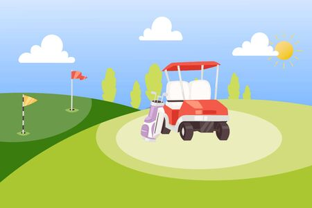 Golf Tournament Cartoon Poster Background Vector Illustration Golf Banner Design Template Summer Sports Competition And Outdoor Leisure Bag With Golf Clubs Car And Red Flag On Green Background Royalty Free Vector Graphics