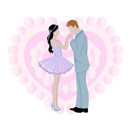 Illustration pour Wedding background with bride and bridegroom and pink heart cartoon background vector illustration. Beautiful bride and groom. Marriage and wedding invitation, beauty advertising poster. - image libre de droit