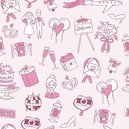 Illustration pour Wedding or Valentine s day seamless pattern vector illustration. Cute doodle texture with bride and groom, wedding cake, love and marriage symbols isolated on white background. - image libre de droit