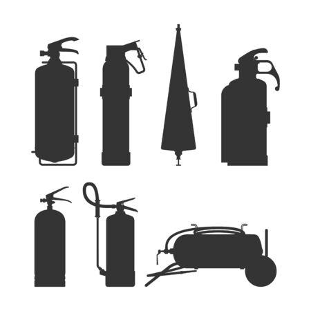 Illustration pour Fire extinguishers and equipment silhouette vector illustration. Cartoon black on white firefighter tools set. Elements of the fire asphyxiators of different forms. - image libre de droit