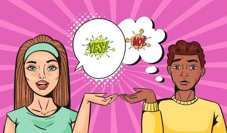 Ilustración de Yes and no young couple family pop art vector cartoon illustration. Caucasian female and dark skinned male couple quarelling. Family consultation concept. Comic speech bubble in pop art style . - Imagen libre de derechos