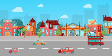 Illustration pour Urban landscape with old european houses, street, highway with retro cars, little town concept cartoon vector illustration. Urban landscape with private houses architecture, boutiques and shops. - image libre de droit