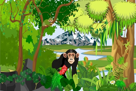 Illustration pour Monkey standing among the plants, jungle, trees, wildlife and nature theme illustration - image libre de droit
