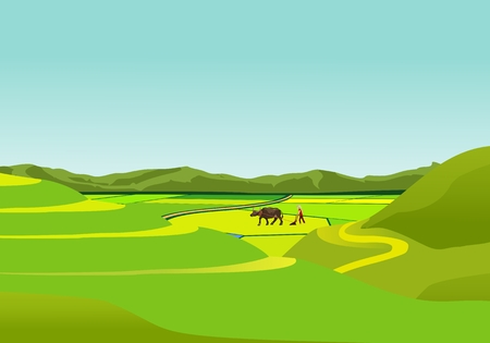 Illustration pour China countryside landscape, farmer with bull in the field vector - image libre de droit