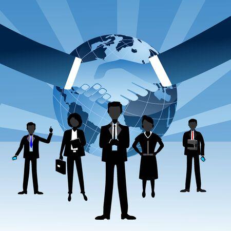 Illustration pour Globe and busenessmen silhouettes standing in front of earth globe handshake illustration on white blue background. Teamwork vector - image libre de droit