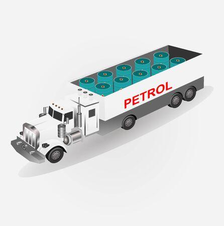 Illustration pour Petrol transporting truck, isometrical vector illustration - image libre de droit