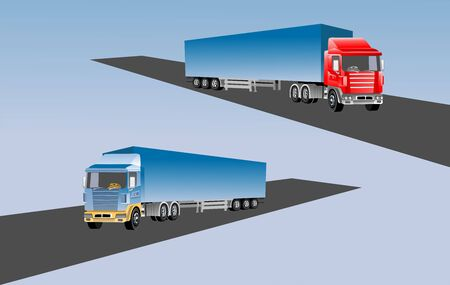 Global logistics concept, 3d vector trucks, on the way, vector illustratio